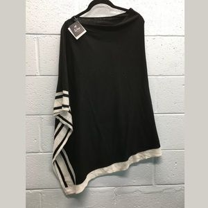 Echo New York stripe trim poncho wrap